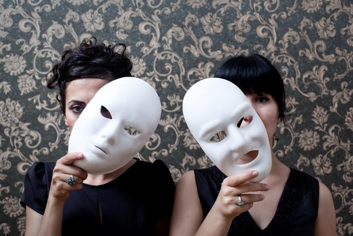 Actor wearing masks